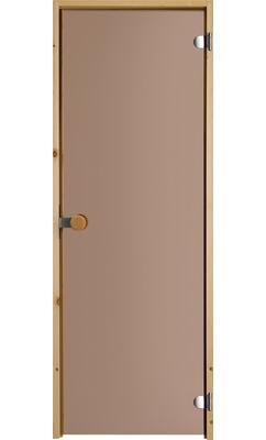 Дверь для сауны с круглой ручкой бронзовая JELD-WEN