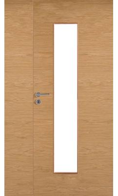 Межкомнатная дверь массивная гладкая двупольная Stable 420P шпонированная с прозрачным стеклом
