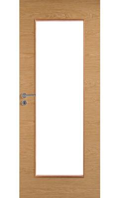 Межкомнатная дверь массивная гладкая Stable 401 шпонированная с прозрачным стеклом