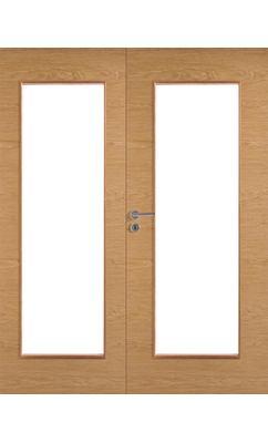 Межкомнатная дверь массивная гладкая двупольная Stable 401P шпонированная с прозрачным стеклом