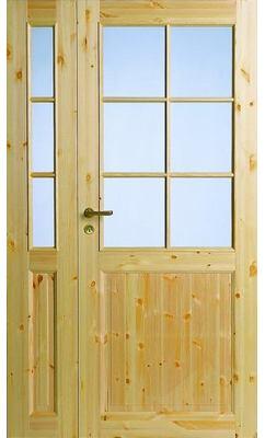 Межкомнатная дверь из массива сосны под 6+3 стекла полуторная N52+52L
