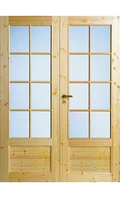 Межкомнатная дверь из массива сосны под 8+8 стекол двухстворчатая JELD-WEN N55P