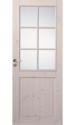 Трехфиленчатая сосновая межкомнатная дверь под белым лаком под 6 стекол однопольная JELD-WEN N52