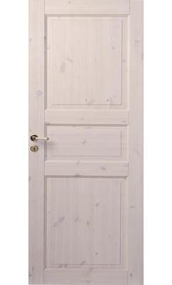 Трехфиленчатая сосновая межкомнатная дверь под белым лаком глухая однопольная JELD-WEN N51