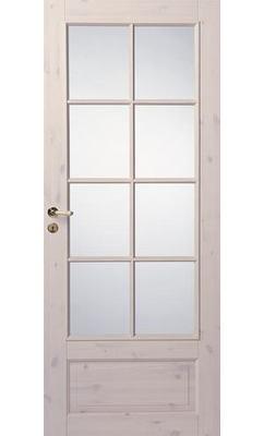 Филенчатая сосновая межкомнатная дверь под белым лаком под 8 стекол N55