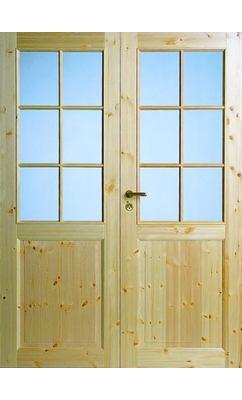 Межкомнатная дверь из массива сосны под 6+6 стекол двухстворчатая нелакированная JELD-WEN N52P