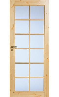 Филенчатая сосновая межкомнатная дверь под 12 стекол нелакированная JELD-WEN N58