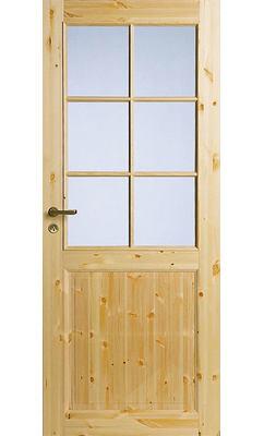 Филенчатая сосновая межкомнатная дверь под 6 стекол однопольная нелакированная JELD-WEN N52