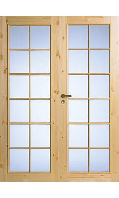 Межкомнатная дверь из массива сосны под 12+12 стекол двухстворчатая нелакированная JELD-WEN N58P