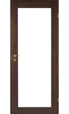 Межкомнатная дверь сосновая Unique Rustic 332K тонированная с прозрачным стеклом