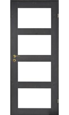 Межкомнатная дверь сосновая Unique Rustic 348K тонированная с 4 прозрачными стеклами JELD-WEN