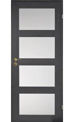 Межкомнатная дверь сосновая Unique Rustic 348S тонированная с 4 матовыми стеклами JELD-WEN