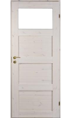 Межкомнатная дверь сосновая Unique Rustic 341K тонированная с 1 прозрачным стеклом сверху