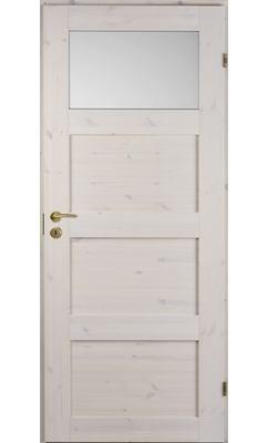 Межкомнатная дверь сосновая Unique Rustic 341S тонированная с 1 матовым стеклом сверху
