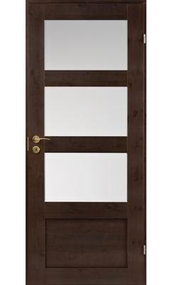 Межкомнатная дверь сосновая Unique Rustic 343S тонированная с 3 матовыми стеклами сверху