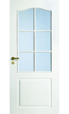 Дверь межкомнатная белая с арочной филенкой под 6 стекол JELD-WEN N22