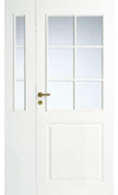 Дверь межкомнатная белая 3-х филенчатая полуторная под 6+3 стекла N2+2L