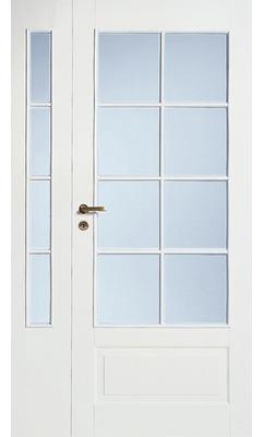 Дверь межкомнатная белая 4-хфиленчатая полуторная под 8+4 стекла N42+42L