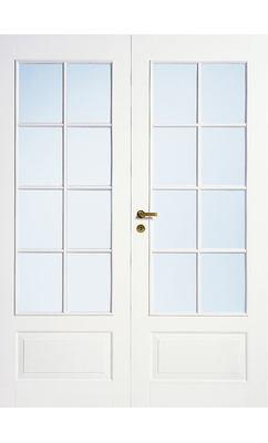 Дверь межкомнатная белая 4-хфиленчатая двупольная под 8+8 стекол N42P