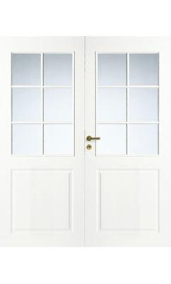 Дверь межкомнатная белая 3-х филенчатая двупольная под 6+6 стекол JELD-WEN N2P