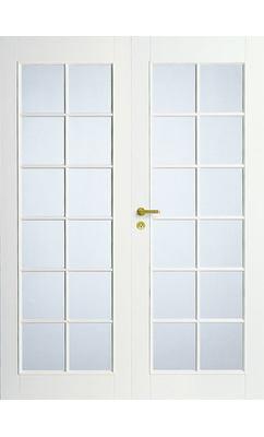 Дверь межкомнатная белая двупольная под 12+12 стекол N20P