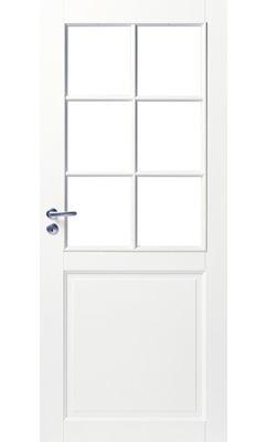 Межкомнатная дверь белая массивная под 6 стекол JELD-WEN N102