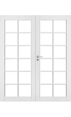 Межкомнатная дверь белая массивная под 12+12 стекол двупольная JELD-WEN N105P