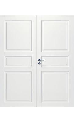 Межкомнатная дверь белая массивная 3-х филенчатая глухая двупольная JELD-WEN