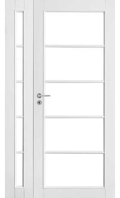 Межкомнатная дверь белая массивная под 5+5 стекла полуторная JELD-WEN N129+129L