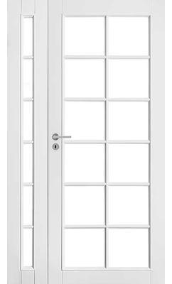 Межкомнатная дверь белая массивная под 12+6 стекол полуторная JELD-WEN
