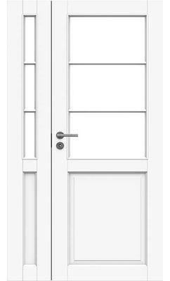 Межкомнатная дверь белая массивная под 3+3 стекла полуторная JELD-WEN N132+132L