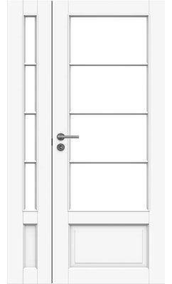 Межкомнатная дверь белая массивная под 4+4 стекла полуторная JELD-WEN N133+133L