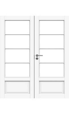 Межкомнатная дверь белая массивная под 4+4 стекол двупольная JELD-WEN N133P