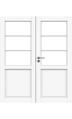 Межкомнатная дверь белая массивная под 3+3 стекол двупольная JELD-WEN N132P