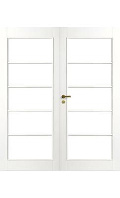 Межкомнатная дверь белая массивная под 5+5 стекол двупольная JELD-WEN N129P