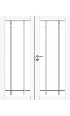 Межкомнатная дверь белая массивная под 5+5 стекол двупольная JELD-WEN N134P