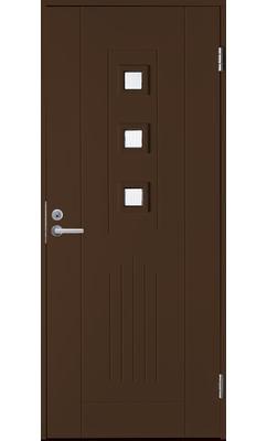 Входная дверь Jeld-Wen Basic 060 со стеклом Costwold с фрезерованной внешней стороной и гладкой внутренней коричневая
