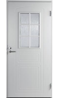 Входная дверь Jeld-Wen Basic 020 со стеклом Costwold с фрезерованной внешней стороной и гладкой внутренней белая