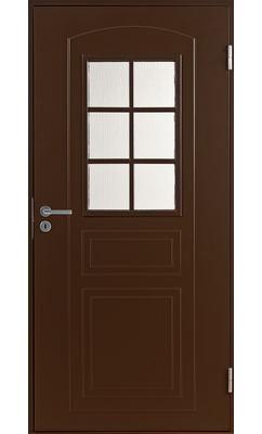 Входная дверь Jeld-Wen Basic 020 со стеклом Costwold с фрезерованной внешней стороной и гладкой внутренней коричневая